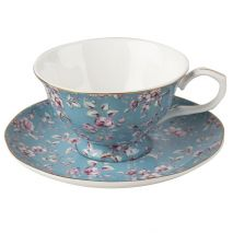 Ditsy Floral Tea Cup and Saucer Teal (Item ID:5202114)