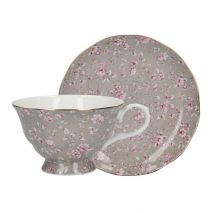 Ditsy Floral Tea Cup and Saucer Grey (Item ID:3745)