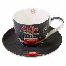 Ardesia Coffee Time Cappuccino Cup and Saucer Red (Item ID:2579)