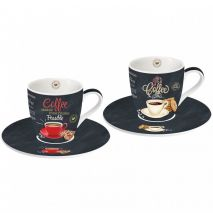 Ardesia Coffee Time Espresso Cup & Saucer Set of 2 (Item ID:2354)